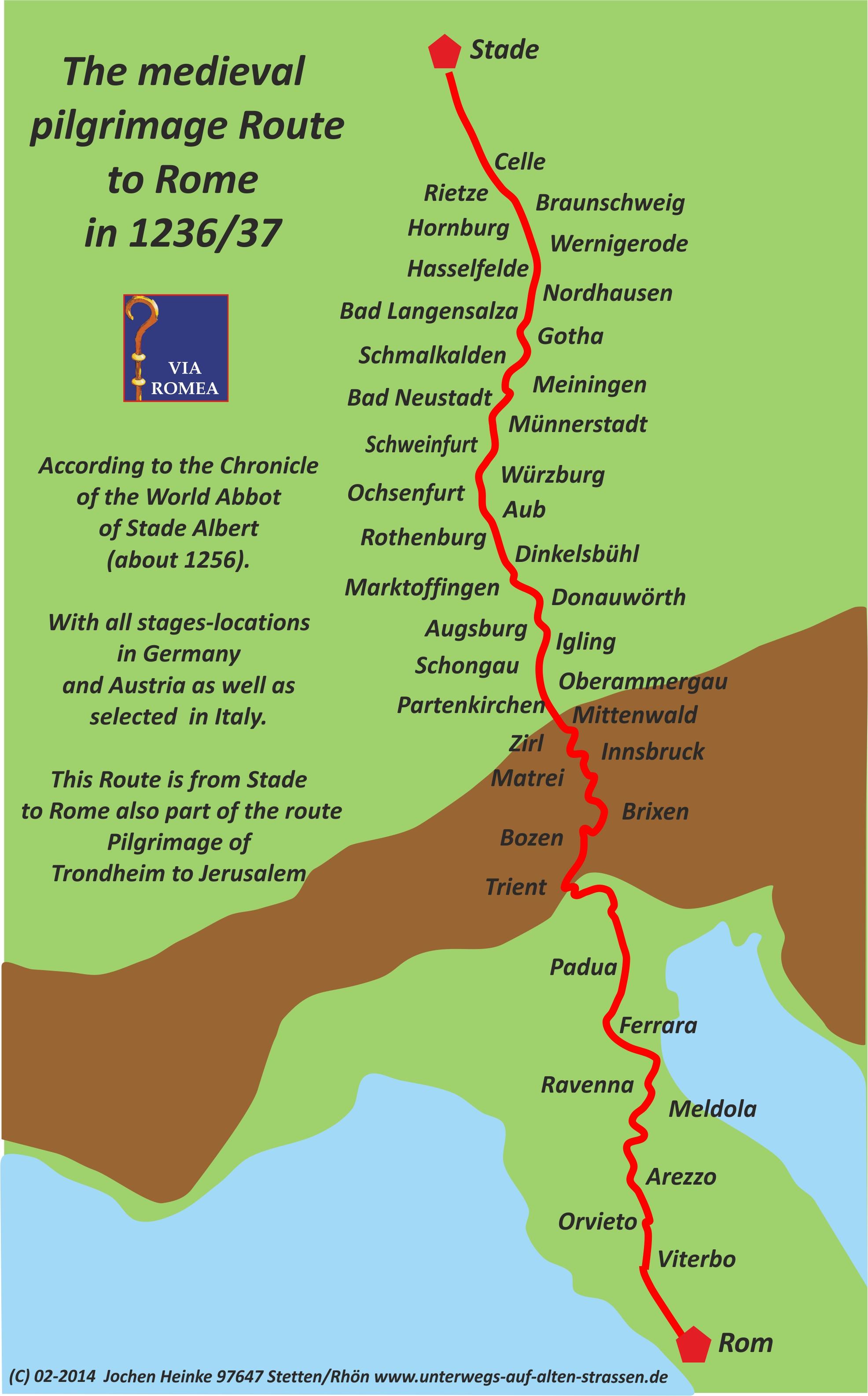 Cartina Italia Con Distanze Km.Documenti E Mappe Via Romea Germanica Viaromeagermanica