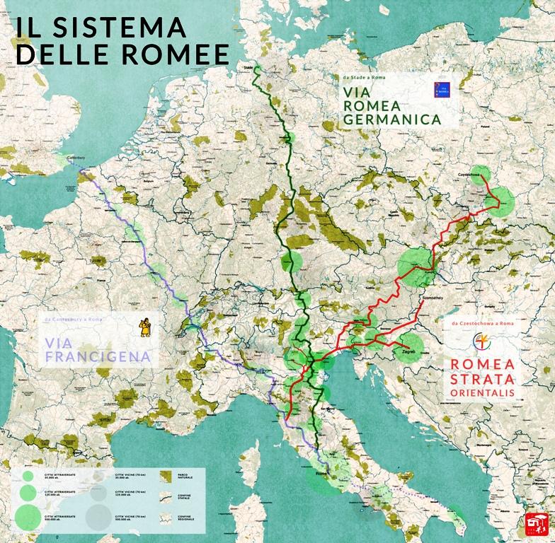 Les grands pèlerinages chrétiens à partir de l`Angleterre au Moyen-Âge - Canterbury -Terre-Sainte - Rome - Compostelle 16-03-07-il-sistema-delle-romeeVRG-VRS