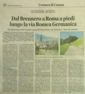 2016-06-02-Il Corriere di Romagna - Dal Brennero a Roma
