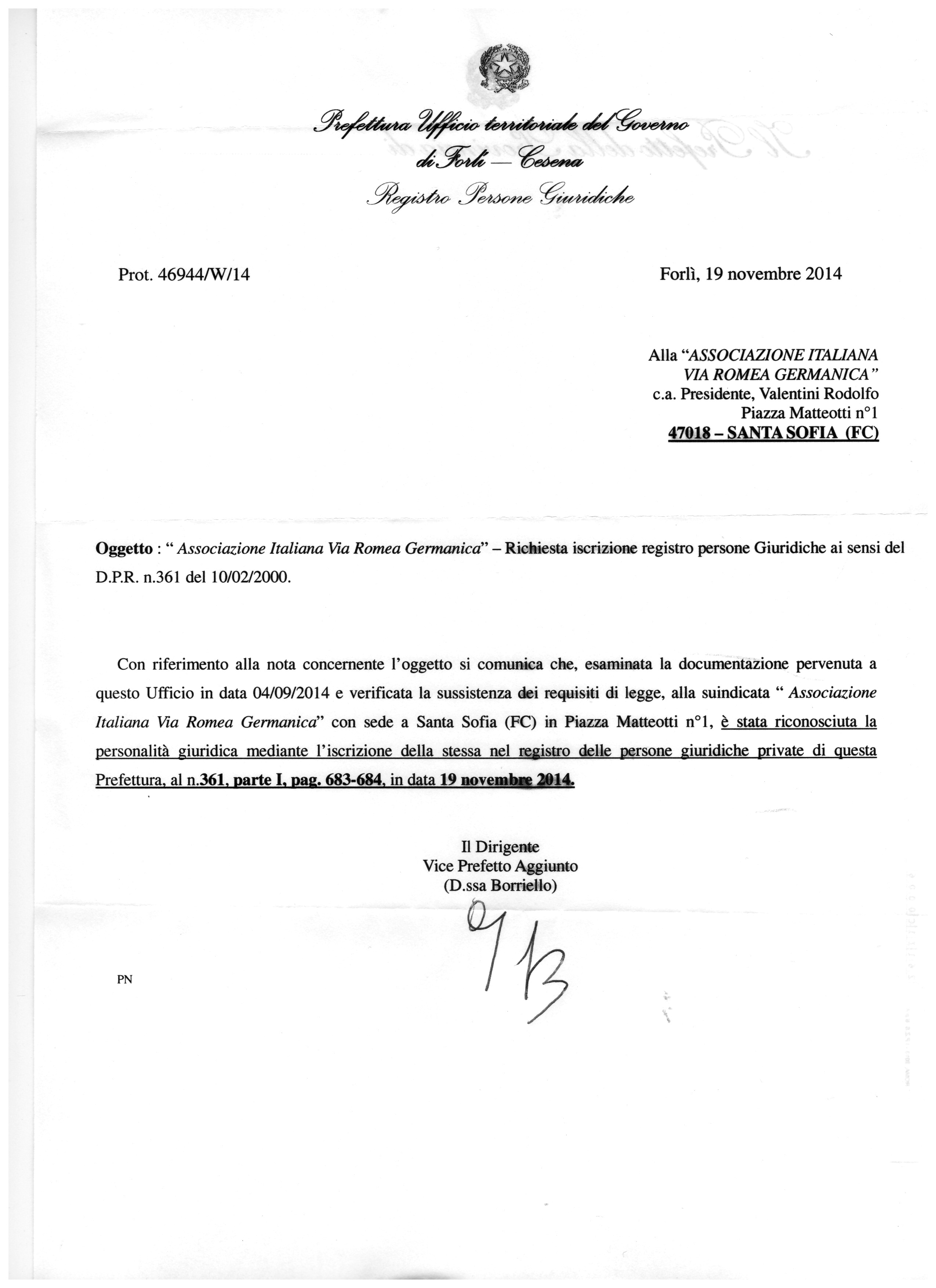 ACT OF THE PREFECTURE of Forl¬ Cesena