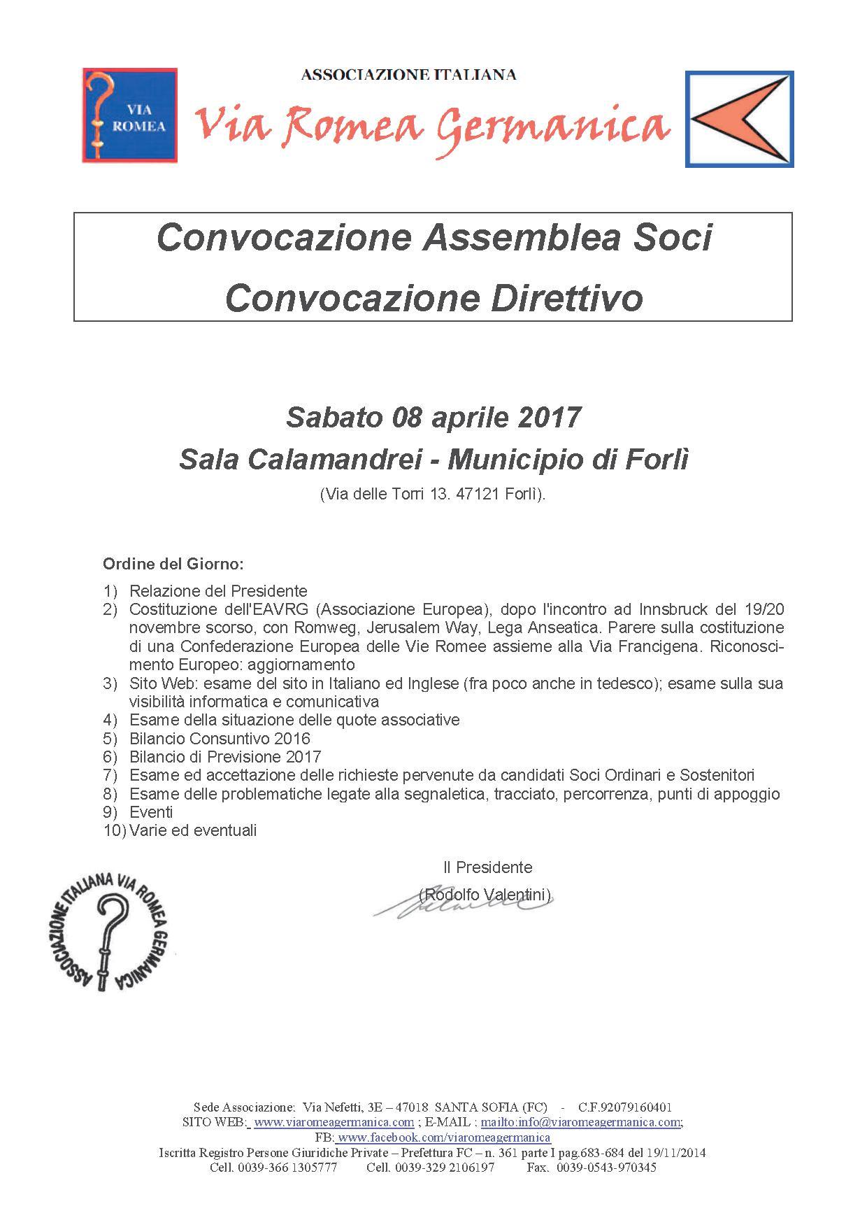 08 APRILE 2017 -ASSEMBLEA DELLA VIA ROMEA GERMANICA